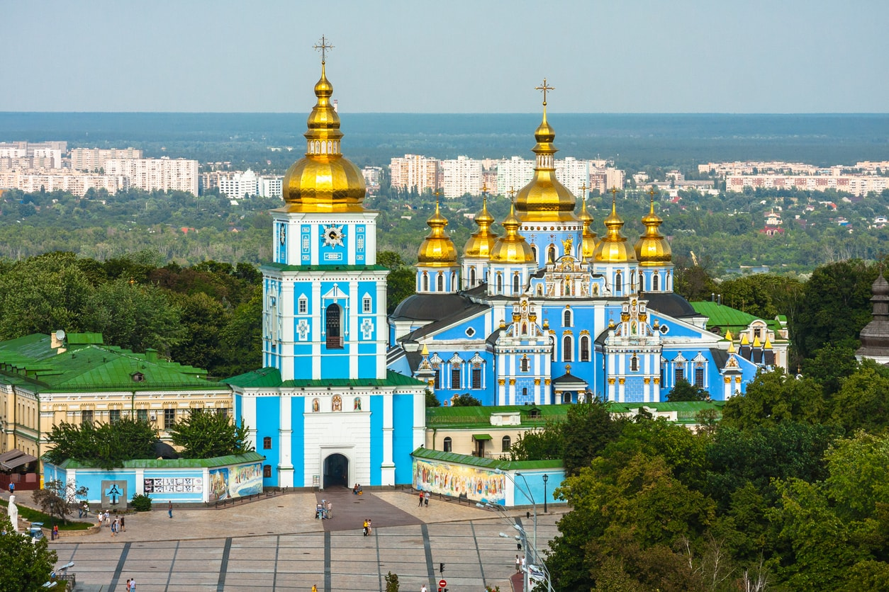 Charming golden dome churches