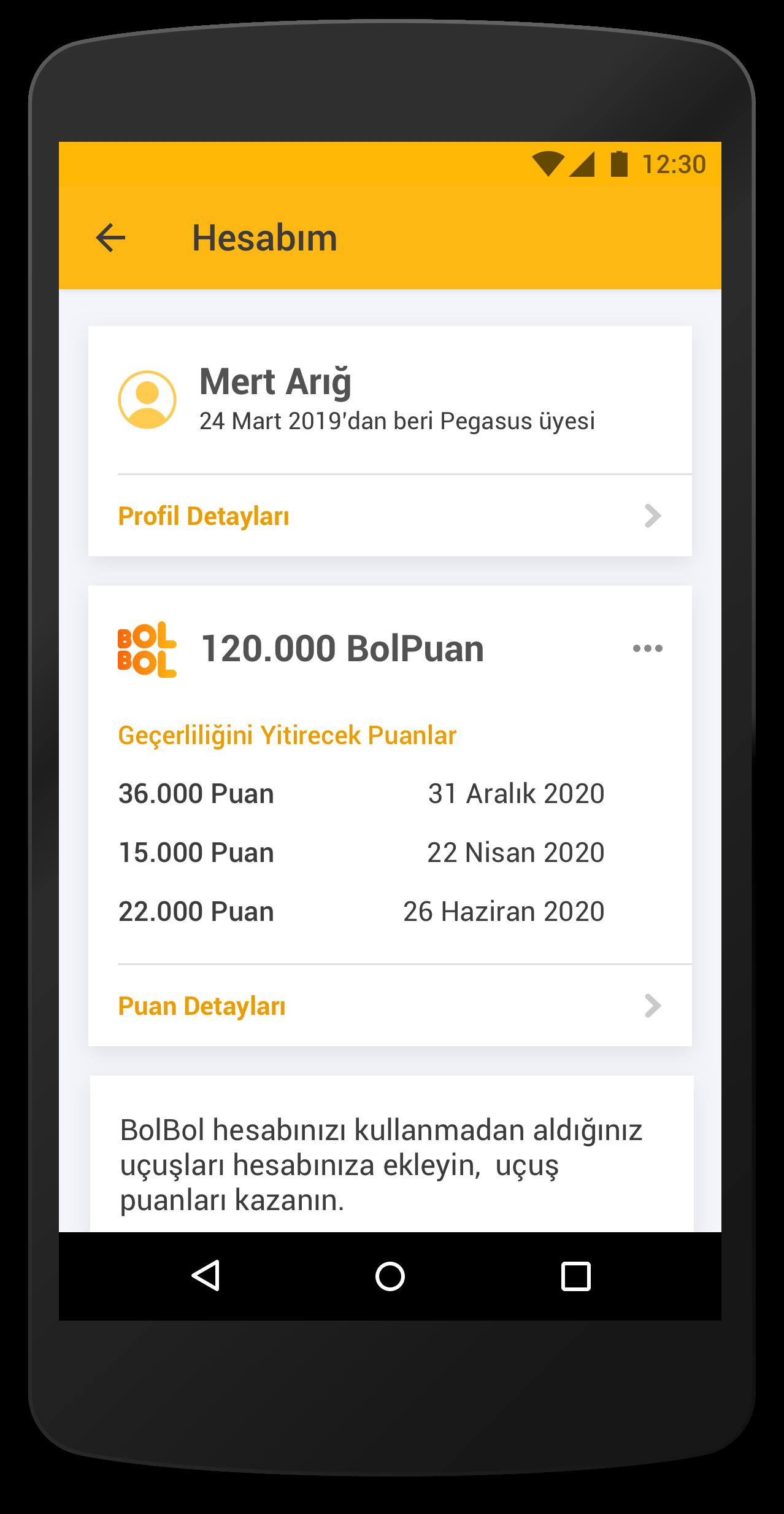 pegasus mobil uygulama
